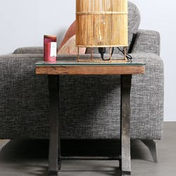 Bout de canapé industriel bois recyclé brut plaque verre KOURSK