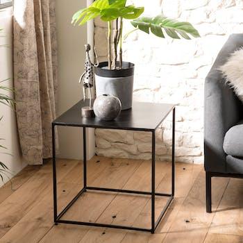 Bout de canapé industriel forme carrée métal noir LIVERPOOL