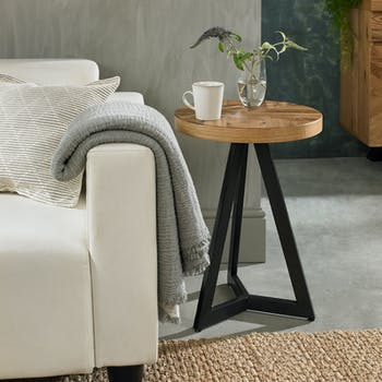 Bout de canapé rond en marqueterie de chêne finition bois naturel ARLINGTON 2