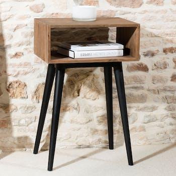 Bout de canapé / Table de chevet esprit scandinave en Teck recyclé 1 niche 50x35x78cm SWING