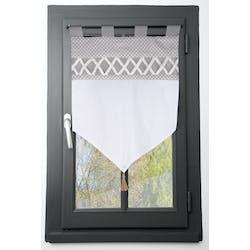 Brise bise 45cm gris et blanc et bande croisillons blanc 45x60cm NELIA
