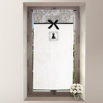 Brise bise blanc avec bande imprimé arabesques grises BLACK DRESS 45x90cm