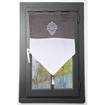 Brise bise gris blanc décor romantique brodé et dentelle 60x60cm 100% coton MELINE