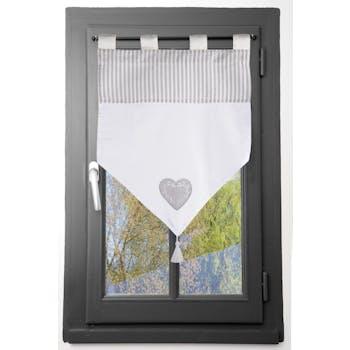 Brise bise romantique en pointe rayé écru et gris décor coeur brodé avec pompon 60x60cm 100% coton CHINON