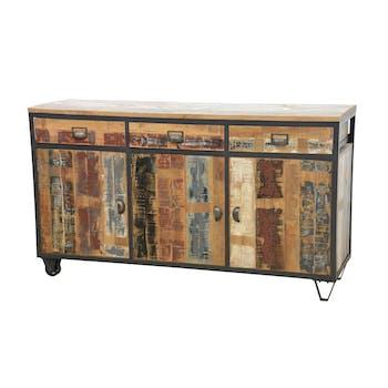 Buffet 3 portes, 3 tiroirs en Hévéa recyclé coloré et métal 150x45x85cm LOFT COLORS
