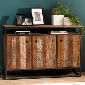 Buffet en bois reycle et metal trois portes de style contemporain