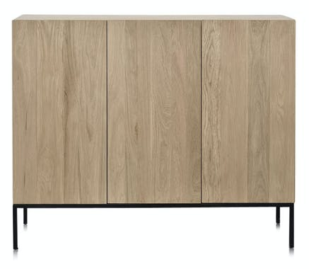 Buffet en bois massif gris et pieds metal de style contemporain