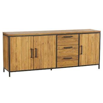 Buffet bahut en bois et metal de style exotique