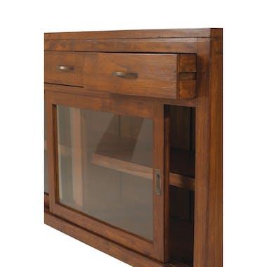 Petit buffet bas en bois avec portes vitrées de style exotique