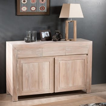 Buffet bas 2 portes 3 tiroirs moderne teck blanchi 120cm DIANE