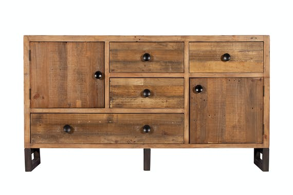 Grand buffet en bois recycle FSC et metal de style industriel