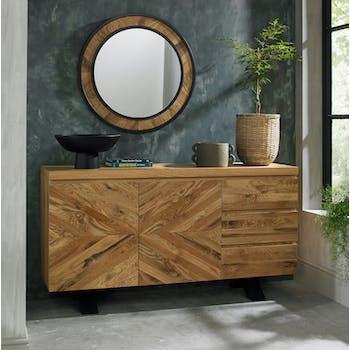 Buffet bas en marqueterie de chêne finition bois naturel ARLINGTON 2