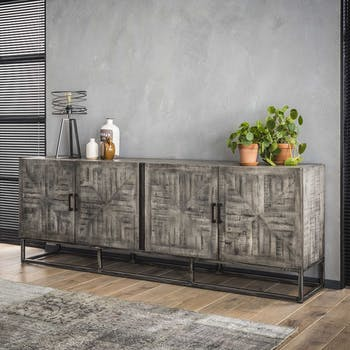 Grand buffet bahut en bois massif gris et metal de style contemporain
