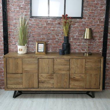 Buffet bas motif damier en bois de chêne 176 cm HUDSON