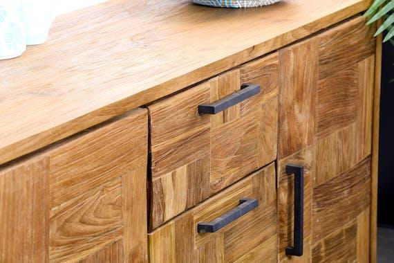 Buffet bahut en bois pieds metal trois portes de style contemporain