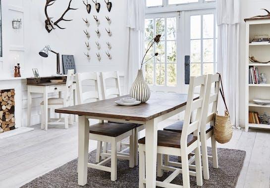 Buffet en bois blanc recycle FSC de style bord de mer