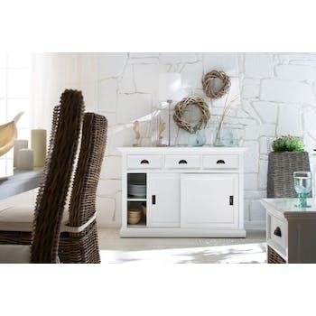 Buffet bas en bois blanc portes coulissantes de style bord de mer