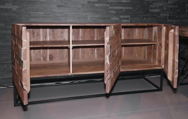 Buffet bois d'acacia sablé 3 portes PERTH