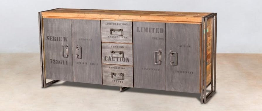 Grand buffet bahut en bois recycle et metal de style industriel