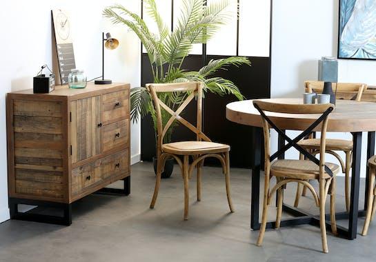 Petit buffet en bois recycle FSC et metal de style industriel