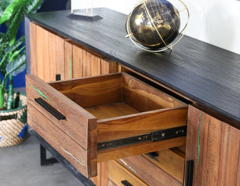 Buffet bois recyclé de bateau 199 cm PHOENIX