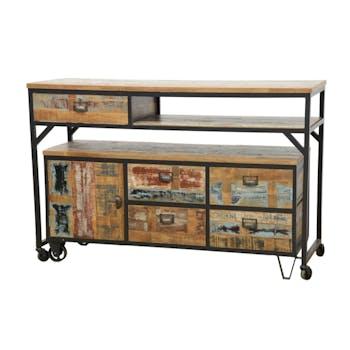 Buffet / Console à roulettes en 2 parties, 4 + 1 tiroirs, 1 porte en Hévéa recyclé coloré et métal 150x53x97cm LOFT COLORS