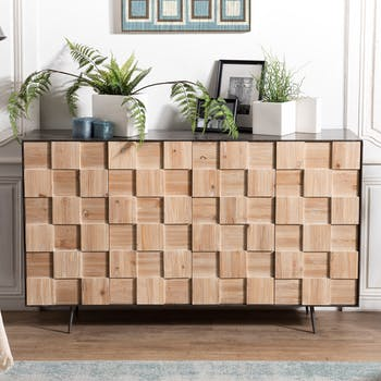Buffet bahut en damier de bois trois porte de style contemporain