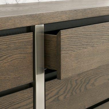 Buffet de salle à manger en chêne et métal brossé 165 cm RIMINI
