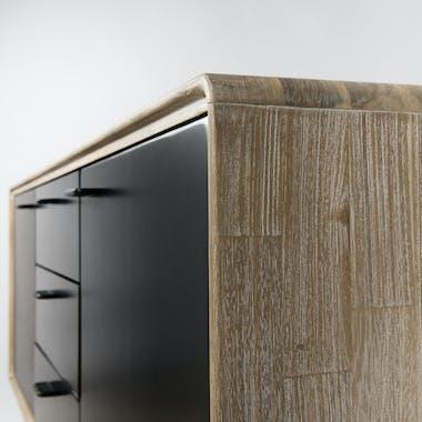 Buffet en Acacia massif couleur naturelle 2 portes et 3 tiroirs noirs, pieds métal 160x45x75cm PALMEIRA