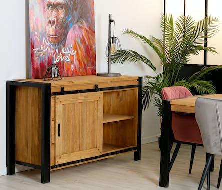 Petit buffet en bois et metal avec porte coulissante de style industriel