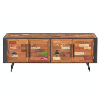 Buffet bahut en bois recycle et metal de style industriel