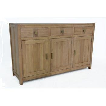 Buffet Enfilade Hévéa 3 portes, 3 tiroirs 146,5x45x90cm GALA