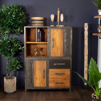 Buffet haut bois de teck recyclé métal vieilli CLEVELAND