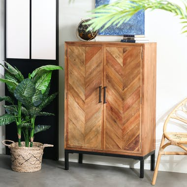 Buffet haut bois recyclé motif chevron MALANG