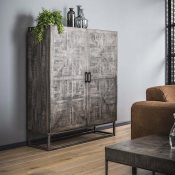 Buffet haut en bois massif gris pied metal de style contemporain