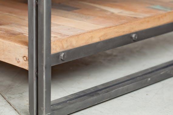Petit buffet en bois recycle et metal deux portes de style industriel