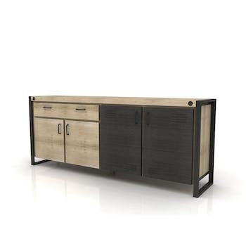 Buffet bahut en bois et metal quatre portes de style industriel