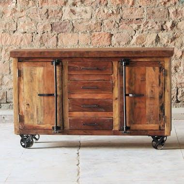 Buffet en bois recycle et metal portes facon glaciere de style indutriel
