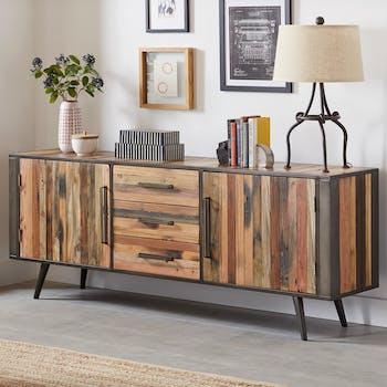 Buffet long bois recyclé 2 portes SEATTLE