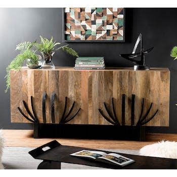 Buffet en bois de manguier et metal quatre portes de style exotique