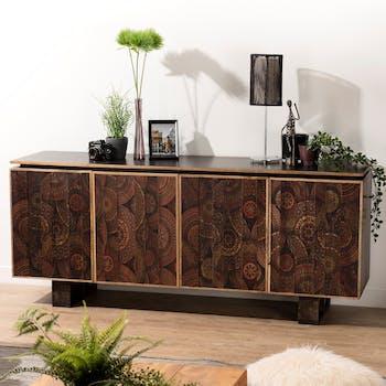 Buffet bahut en bois de manguier quatre portes de style exotique