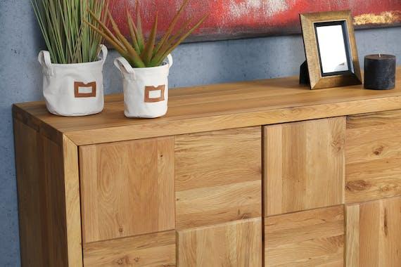 Buffet moderne 3 portes en damier bois de chêne VOLGA