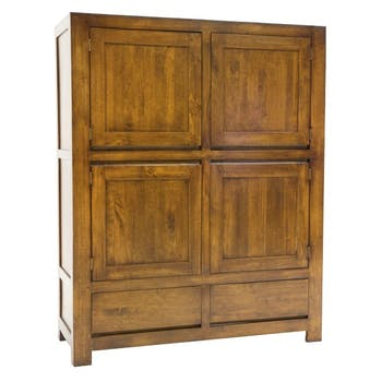 Buffet moderne 4 portes 2 tiroirs hévéa 120x150cm OLGA