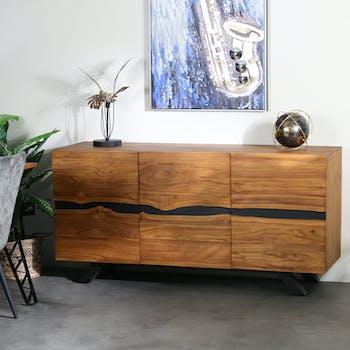Buffet moderne bois recyclé teck laque noire BARBADE