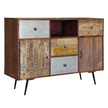 Buffet Patchwork 2 portes, 4 tiroirs et 1 niche en bois exotique 130x40x90cm PATCHOULI