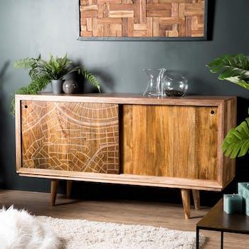 Buffet en bois de manguier portes coulissantes de style exotique