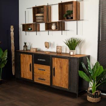 Buffet salle à manger bois de teck recyclé métal vieilli CLEVELAND