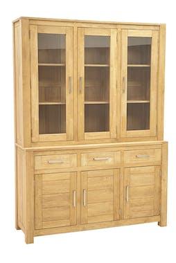 Buffet vaisselier vitré bois moderne ATTAN 150cm