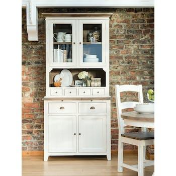 Buffet vitrine module haut blanc bois recyclé BRISTOL