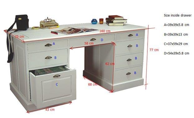 Bureau 8 tiroirs hévéa 160cm TRADITION